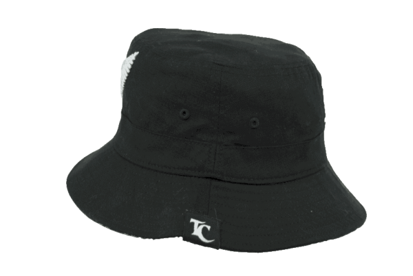 Nz Fern Black Bucket Hat With White Embroidery Black Brim Tuff Coconut Hats