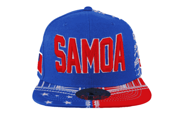 e8540a59047 Samoa Blue Baseball Cap with Red Embroidery – Pattern Brim – Tuff ...