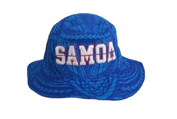Samoa Blue Bucket Hat with White Embroidery – Pattern Brim- Front View V2