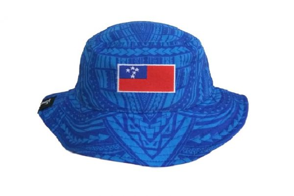Samoa Blue Bucket Hat with White Embroidery – Pattern Brim- back view V2