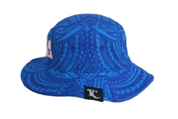 Samoa Blue Bucket Hat with White Embroidery – Pattern Brim- side view V2