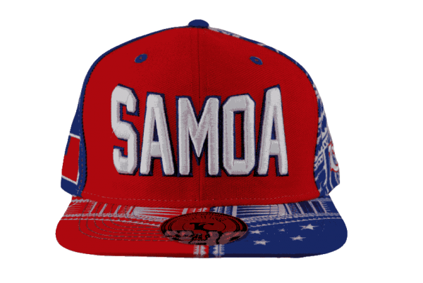 4e8ee6906fb Samoa Red Snapback Cap with White Embroidery – Pattern Brim – Tuff ...