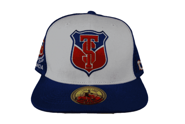 a149453e1fb Toa Samoa White Blue Trucker Snapback Cap with Blue Red Embroidery ...