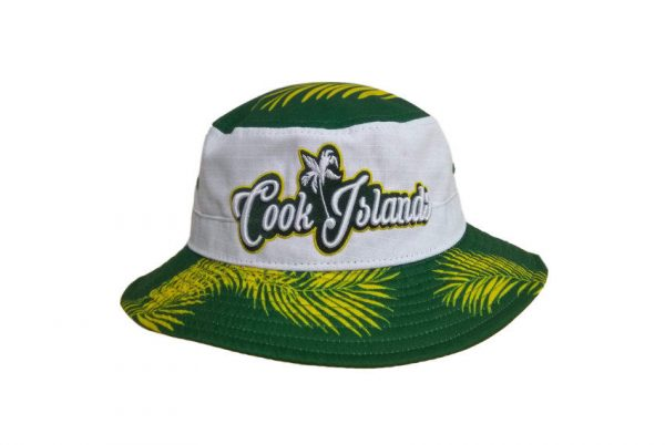 Cook Island White & Green Bucket Hat with Embroidery – Pattern Brim