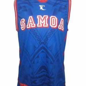 samoa singlet shirt royal blue front view