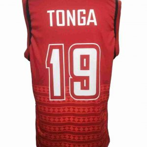 tonga singlet shirt red back view